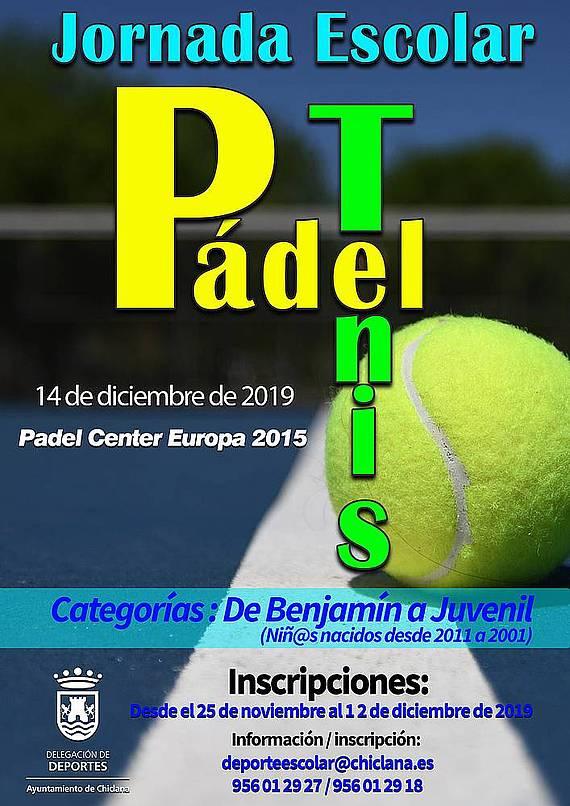 cartel jornada escolar de padel y tenis